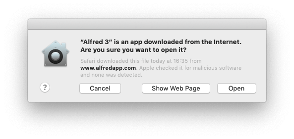 macOS notice on launch that Alfred is notarised