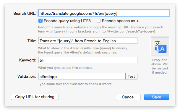 Custom Search in Alfred - Translate from French to English