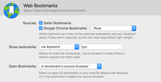 Bookmarks Preferences in Alfred