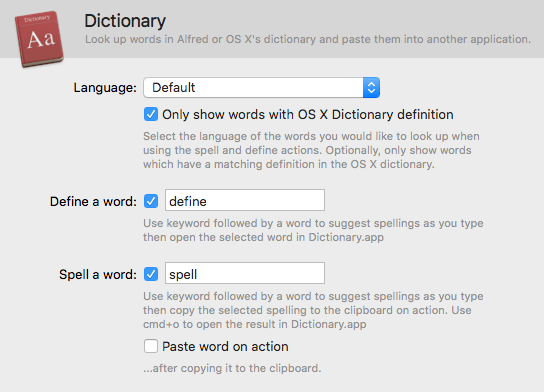 Dictionary - Alfred Help and Support