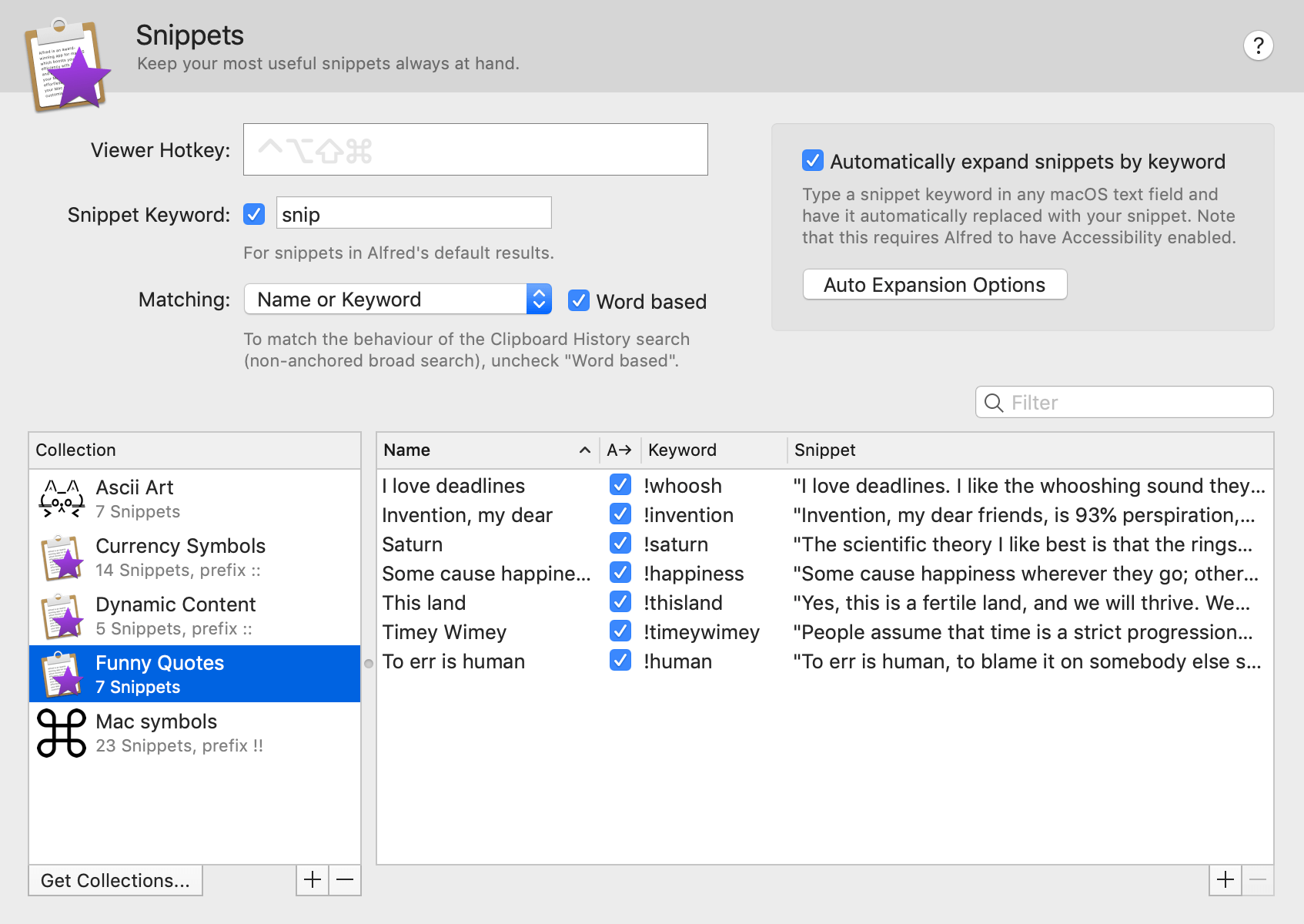 Snippets and Text Expansion - Alfred Help and Support